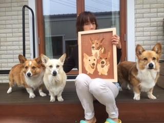 犬を愛してやまない妻へ贈る、コーギー三兄弟の木象嵌!