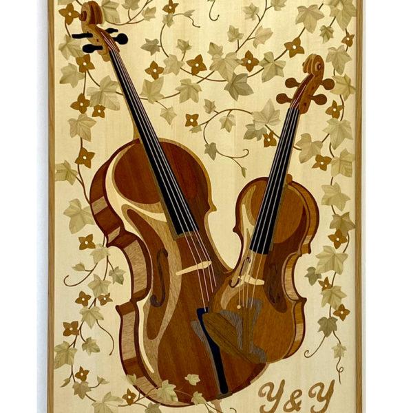 音楽家のための木象嵌           -楽器を愛する新郎新婦に贈る結婚祝い-